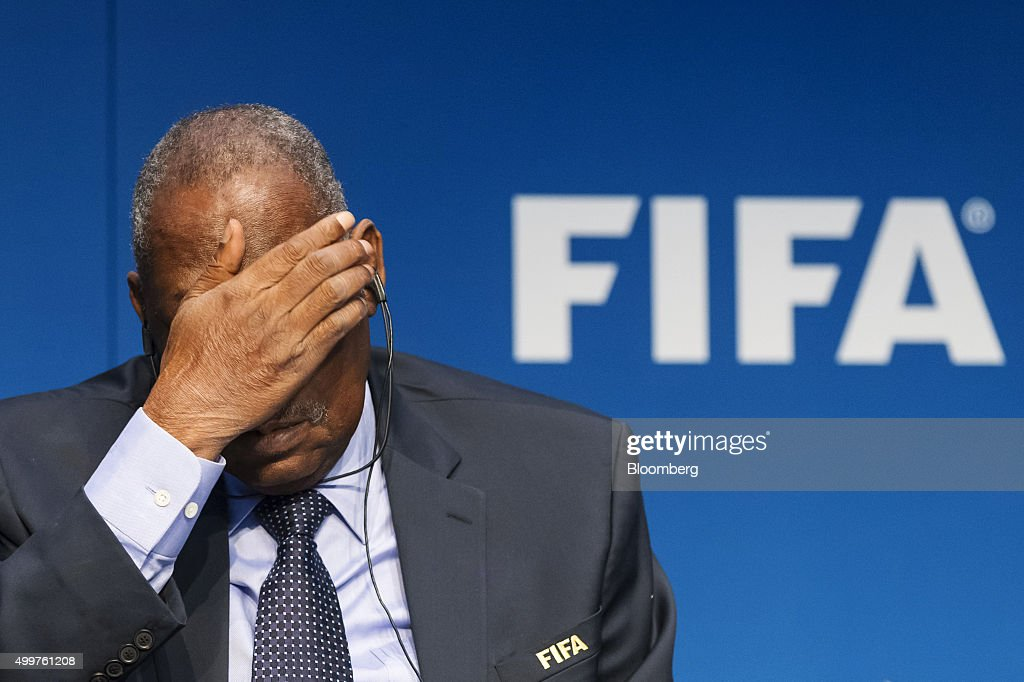 <a gi-track='captionPersonalityLinkClicked' href=/galleries/search?phrase=Issa+Hayatou&family=editorial&specificpeople=541876 ng-click='$event.stopPropagation()'>Issa Hayatou</a>, acting president of FIFA, reacts during a news conference following an executive committee meeting in Zurich, Switzerland, on Thursday, Dec. 3, 2015. Swiss authorities arrested two FIFA vice presidents in their Zurich hotel at dawn on Thursday, repeating tactics used six months earlier, as a U.S.-led corruption probe of international soccer's governing body widens and FIFA itself finalizes proposals to overhaul its governance rules. Photographer: Alessandro Della Bella/Bloomberg via Getty Images