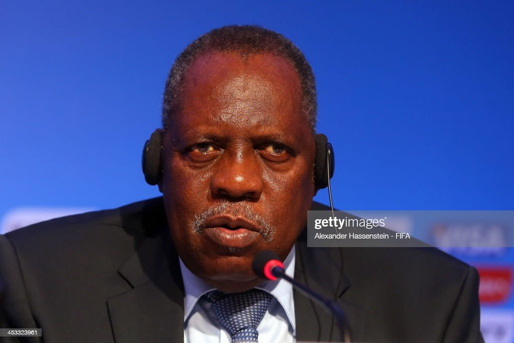 Issa Hayatou, Deputy Chairman of the Organizing Committee for the FIFA 2014 World Cup talks to the media during the FIFA World Cup 2014 Organizing Committee press conference at Costa do Sauipe Resort on December 3, 2013 in Costa do Sauipe, Bahia, Brazil.
