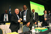 Issa Hayatou President of the CAF welcomes FIFA President Joseph S Blatter for the CAF confederation congress at Sheraton Sao Paulo WTC hotel on June...
