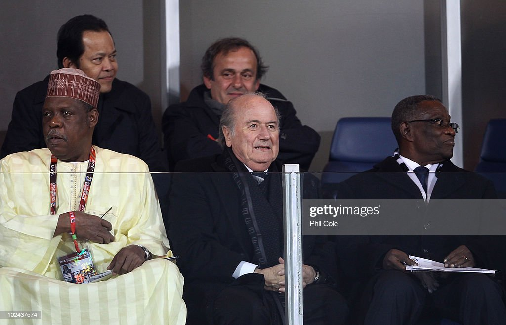 Issa Hayatou president of the Confederation of African Football FIFA President Joseph Sepp Blatter and UEFA President Michel Platini attend the 2010...