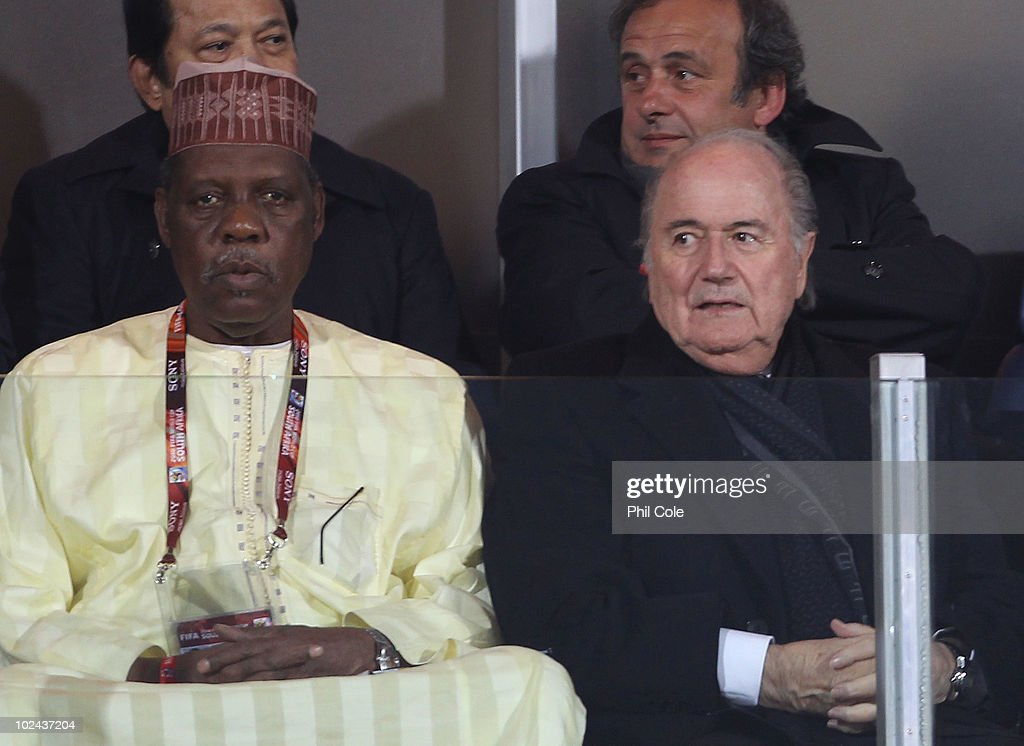 Issa Hayatou president of the Confederation of African Football sits with FIFA President Joseph Sepp Blatter prior to the 2010 FIFA World Cup South...