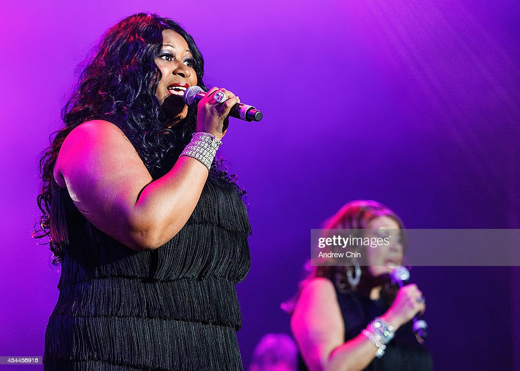 Issa Pointer and Anita Pointer of The Pointer Sisters perform on stage at PNE Amphitheatre during Day 14 of The Fair At The PNE on August 31 2014 in...