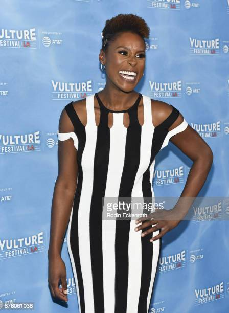 Issa Rae attends the 'Wine Down with Insecure's Issa Rae' panel at Vulture Festival Los Angeles at Hollywood Roosevelt Hotel on November 18 2017 in...