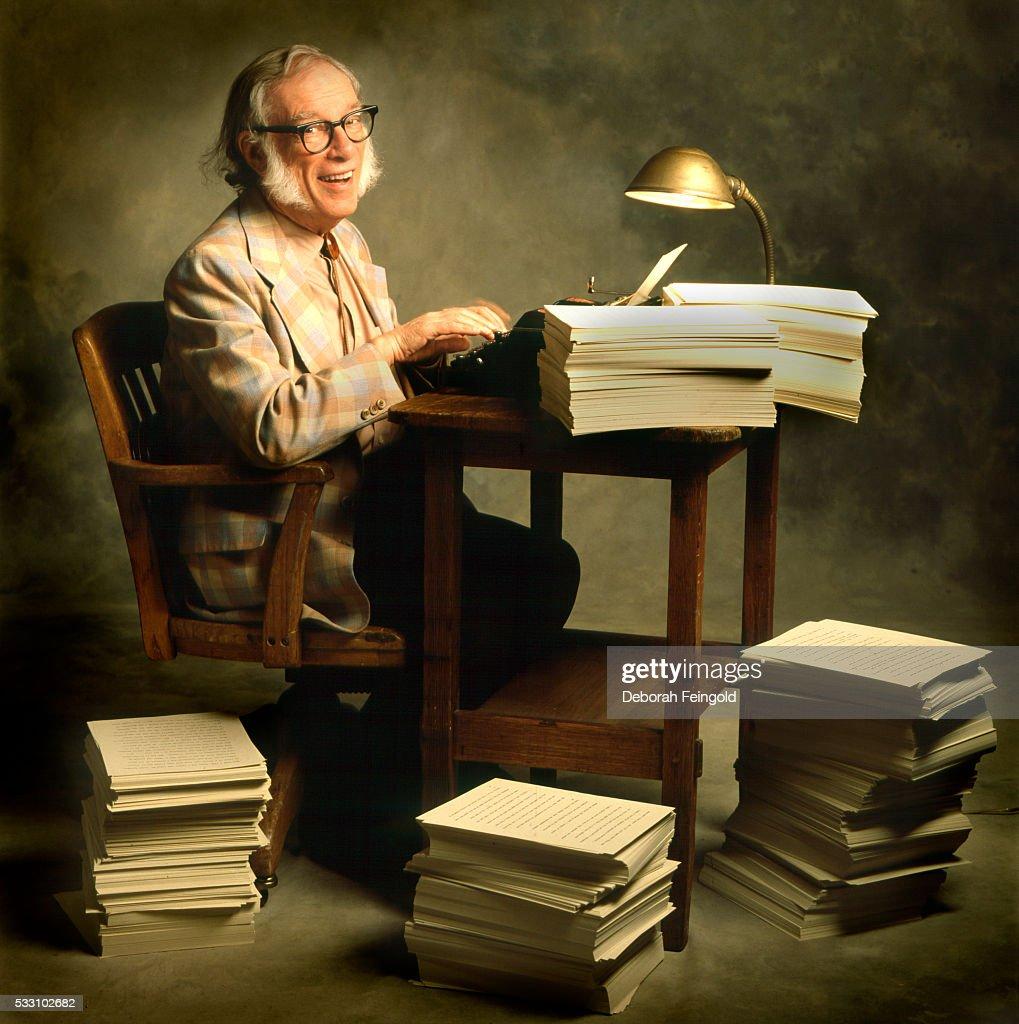 Issac Asimov at Typewriter