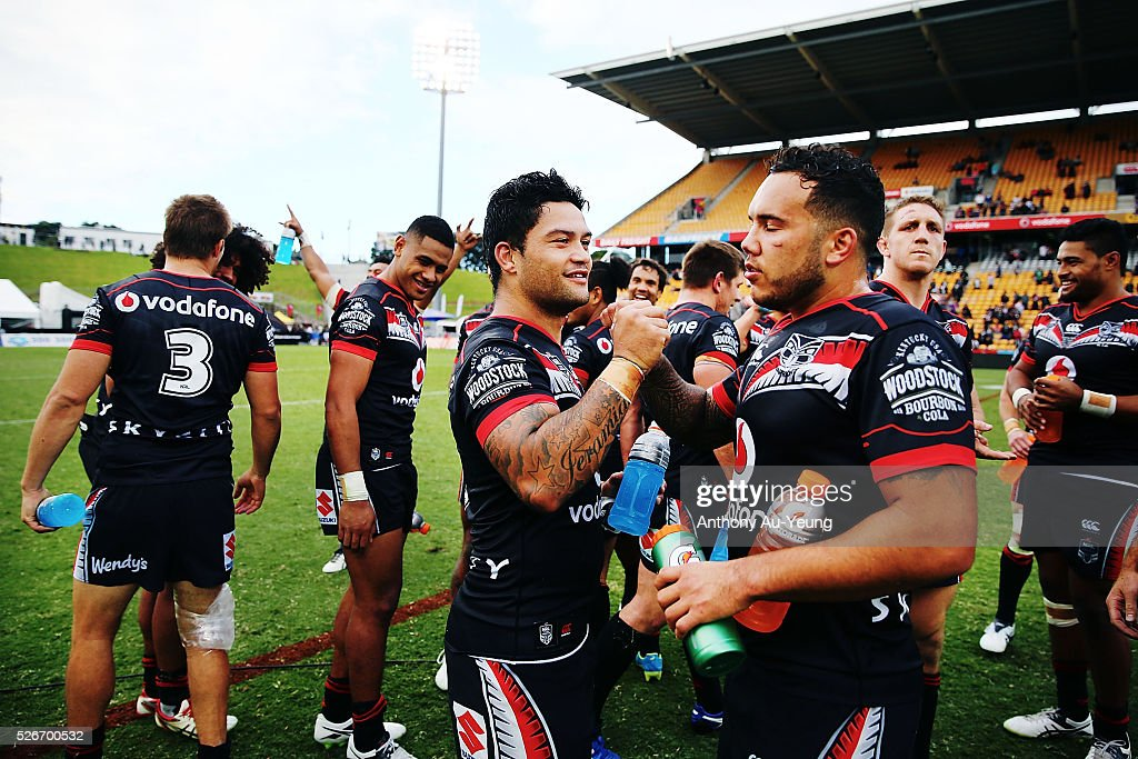 Issac Luke and Jazz Tevaga of the Warriors celebrate after winning the round nine NRL match between the New Zealand Warriors and the St George Illawarra Dragons at Mt Smart Stadium on May 1, 2016 in Auckland, New Zealand.