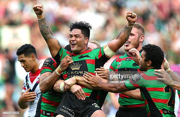 Issac Luke of the Rabbitohs celebrates his try during the round two NRL match between South Sydney Rabbitohs and the Sydney Roosters at ANZ Stadium...