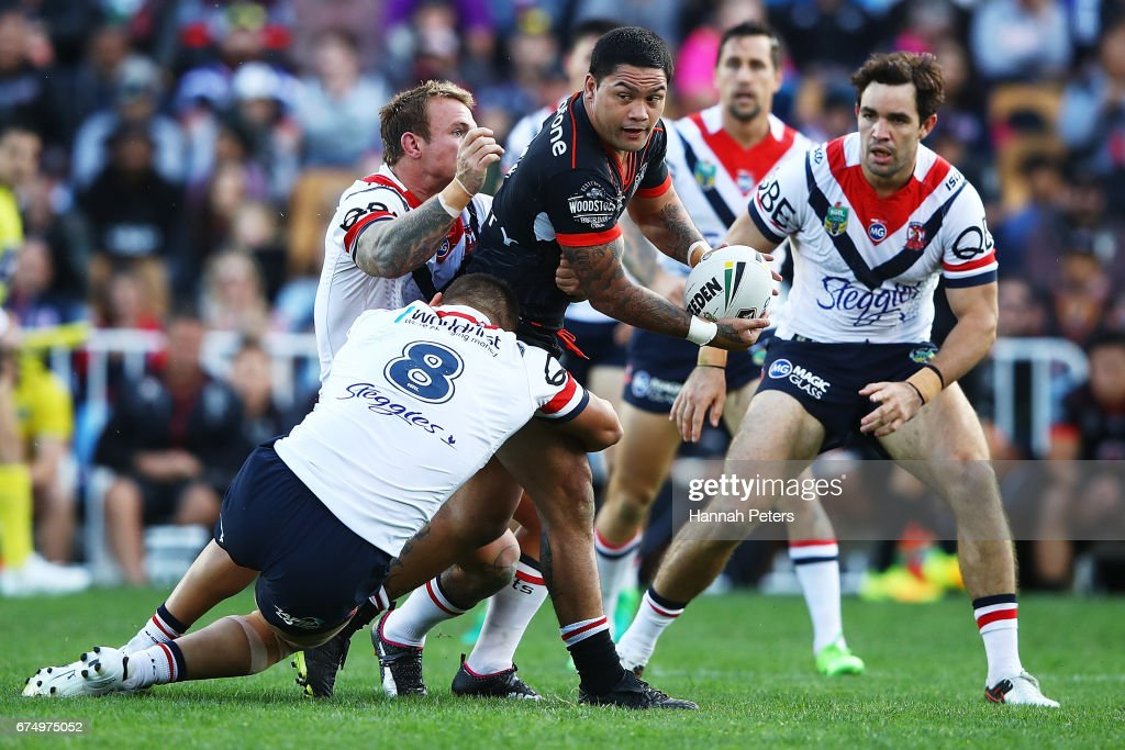 Issac Luke of the Warriors charges forward during the round nine NRL match between the New Zealand Warriors and the Sydney Roosters at Mt Smart Stadium on April 30, 2017 in Auckland, New Zealand.