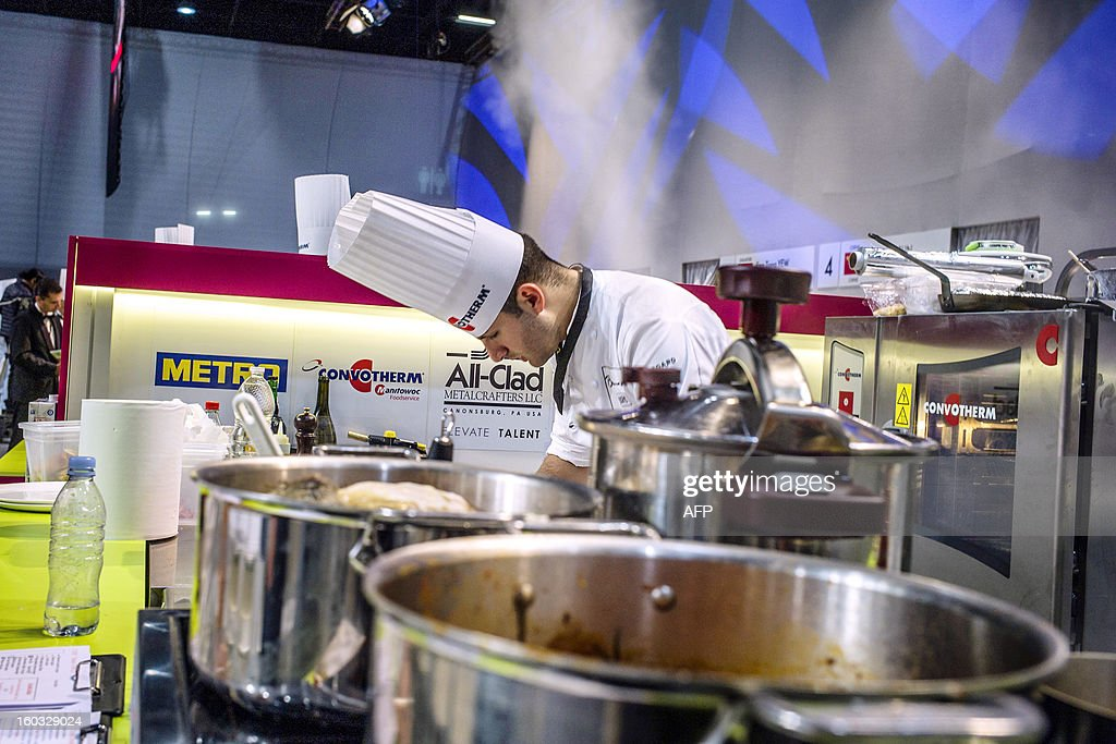Issam Jaafari of Morroco competes in the 14th world final of the international culinary competition of the Bocuse d'Or (Golden Bocuse), on January 29, 2013 in Chassieu, central eastern France.