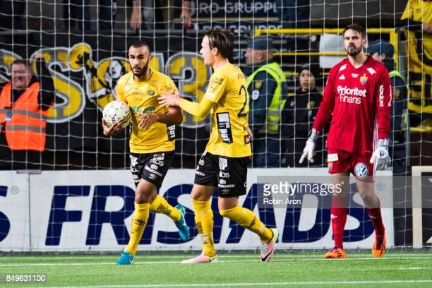Issam Jebali of IF Elfsborg celebrates after scoring the deceive goal 22 and Tommi Vaiho goalkeeper of Djurgardens IF dejected during the Allsvenskan...