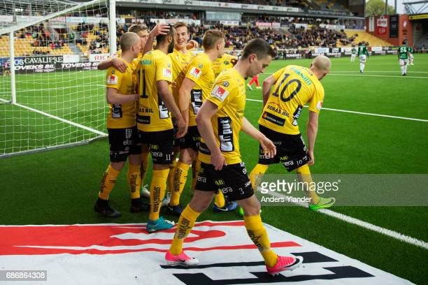 Issam Jebali of IF Elfsborg celebrates after scoring with teammates during the Allsvenskan match between IF Elfsborg and Jonkopings Sodra IF at Boras...