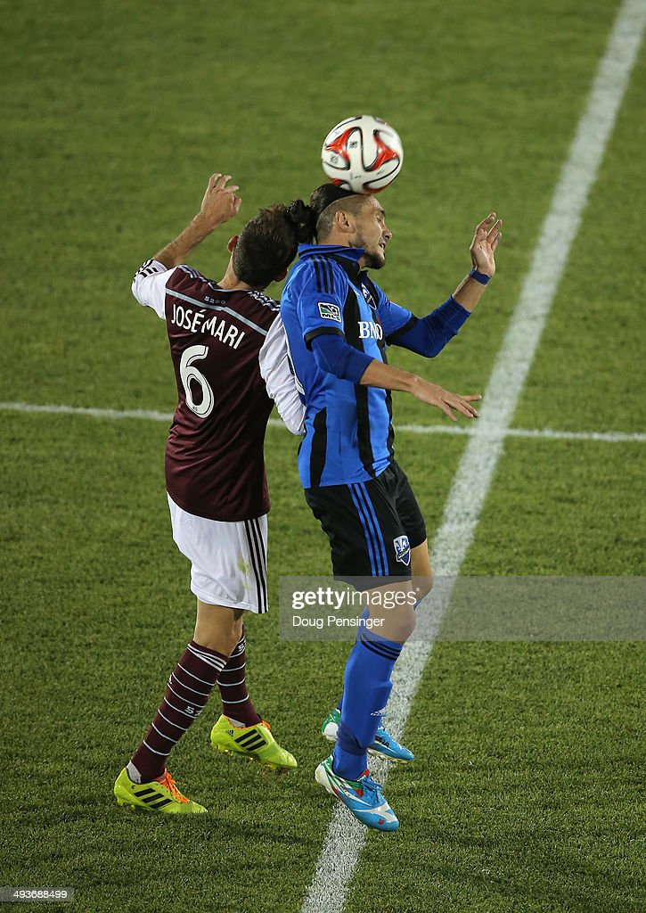 Issey Nakajima-Farran #17 of the Montreal Impact heads the ball away from Jose Mari #6 of the Colorado Rapids at Dick's Sporting Goods Park on May 24, 2014 in Commerce City, Colorado. The Rapids defeated the Impact 4-1.