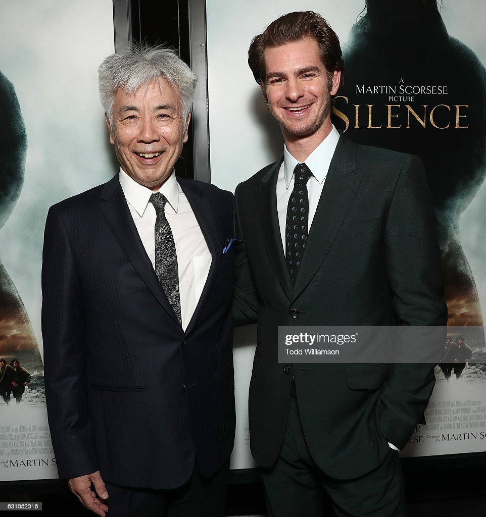 Issey Ogata and Andrew Garfield attend the premiere of Paramount Pictures' 'Silence' at the Directors Guild Of America on January 5, 2017 in Los Angeles, California.