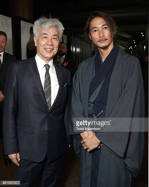 Issey Ogata and Yosuke Kubozuka attend the premiere of Paramount Pictures' 'Silence' at the Directors Guild Of America on January 5 2017 in Los...