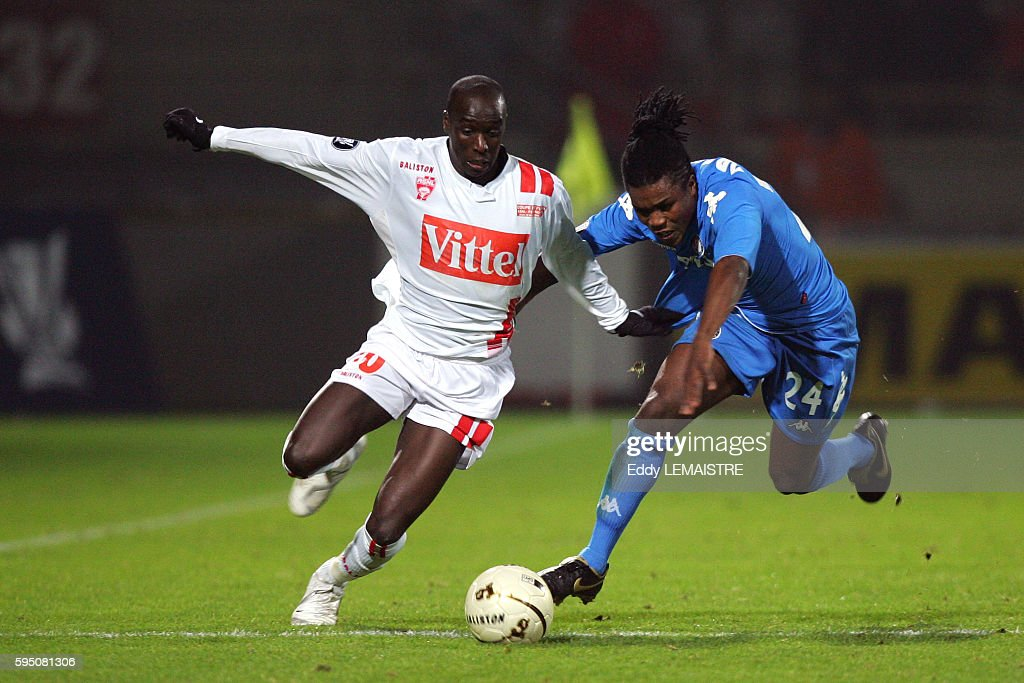 Issiar Dia and Roystein Drenthe during the 20062007 UEFA Cup match between AS Nancy Lorraine and Feyenoord Rotterdam