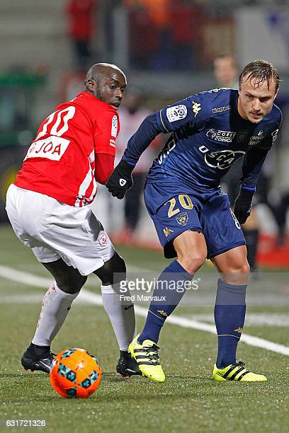 Issiar Dia of Nancy and Pierre Bengtsson of Bastia during the Ligue 1 match between AS Nancy Lorraine and SC Bastia at Stade Marcel Picot on January...