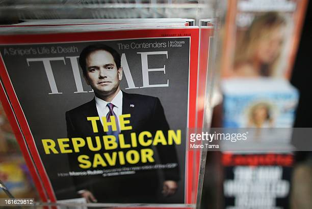 Issues of Time magazine are for sale at a newsstand in Manhattan on February 13 2013 in New York City Time Warner Inc is reportedly in talks to sell...