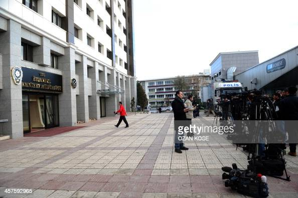 Istanbul Police Headquarters in Fatih is surrounded by media workers on December 18 2013 in Istanbul Turkish police detained more than 20 people...
