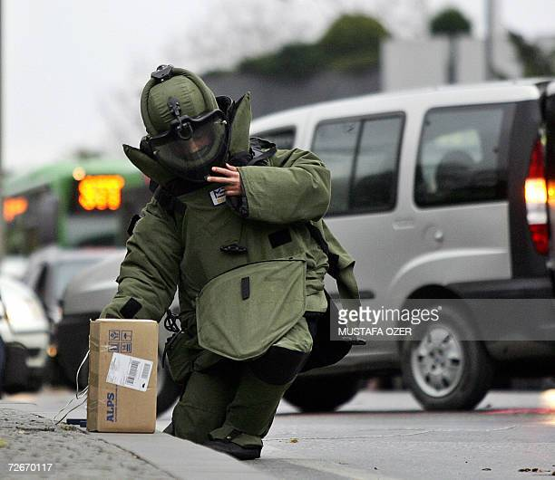 A Turkish policemen from bomb squad checks a suspected box close to the Holy Spirit Catholic Cathedral in Istanbul 29 November 2006 Pope Benedict XVI...