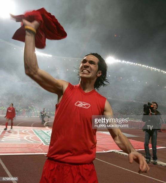 Liverpool's Spanish midfielder Luis Garcia celebrates at the end of the UEFA Champions league football final AC Milan vs Liverpool 25 May 2005 at the...