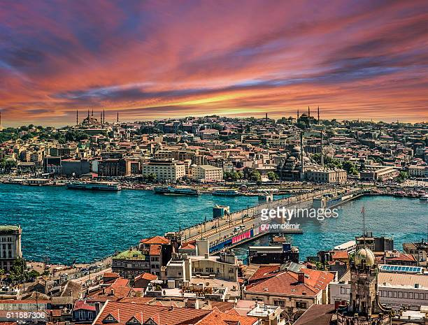 Istanbul with Golden Horn at sunset