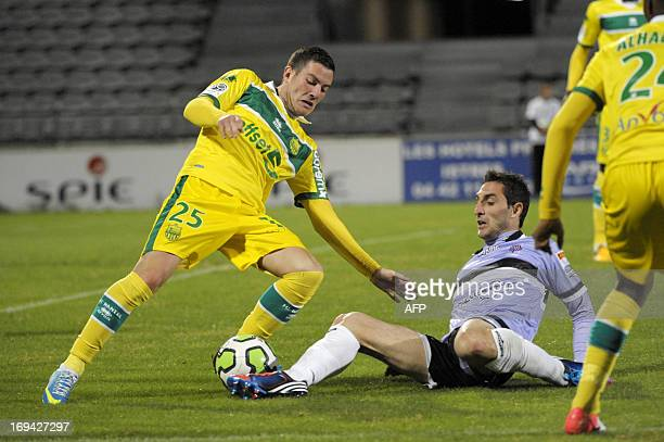 Istres' French defender Fabien Barillon vies for the ball with Nantes' French midfielder Jordan Veretout during the French Ligue 2 football match...