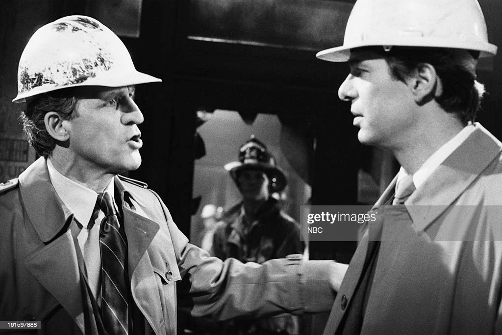 BLUES -- 'It Ain't Over Till It's Over' Episode 722 -- Pictured: (l-r) Daniel J. Travanti as Captain Frank Furillo, Arthur Taxier as IAD Shipman --