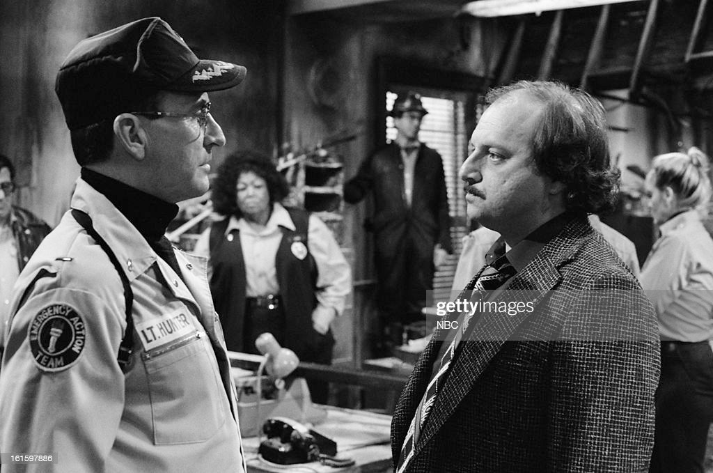 BLUES -- 'It Ain't Over Till It's Over' Episode 722 -- Pictured: (l-r) James B. Sikking as Lt. Howard Hunter, Dennis Franz as Lt. Norman Buntz --