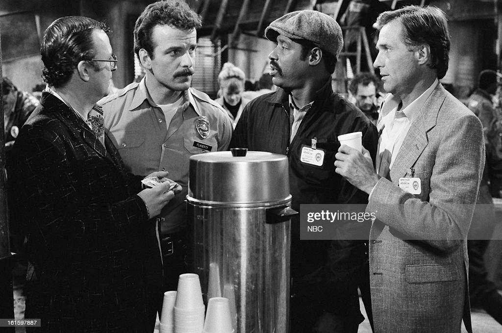 BLUES -- 'It Ain't Over Till It's Over' Episode 722 -- Pictured: (l-r) Peter Jurasik as Sid the Snitch, Robert Clohessy as Off. Patrick Flaherty, Taurean Blacque as Det. Neal Washington, Kiel Martin as Det. Johnny 'J.D.' LaRue --