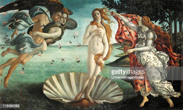 It depicts the goddess Venus having emerged from the sea as a full grown woman arriving at the seashore