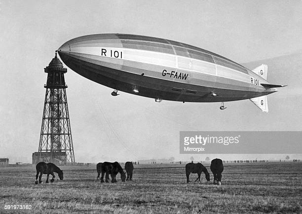 It first flew on 14 October 1929 but subsequent test flights revealed numerous design faults Pictured here moored at the Royal Airship Works...
