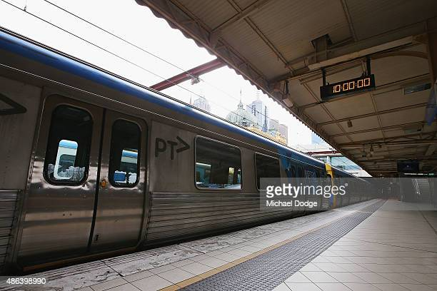 It is precisely 10am and abandoned trains are left by striking Train Union workers at Flinders Street Station on September 4 2015 in Melbourne...