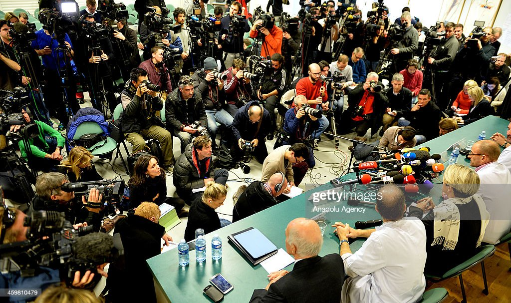 It is reported that the seven-times Formula One world champion Michael Schumacher is in a critical condition after a skiing accident in the French Alps during Professor Stephan Chabardes, Professor Jean-Francois Payen, and Professor Emmanuel Gay hold a press conference at Grenoble University Hospital Centre on Michael Schumacher's medical state following his skiing accident on Sunday on December 31, 2013 in Grenoble, France.