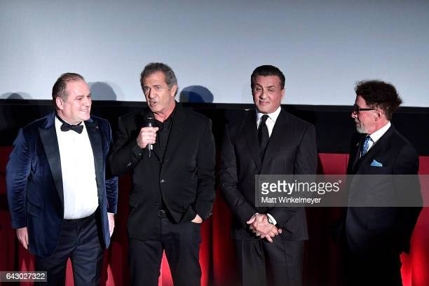 LAItalia Film Fashion Art Festival founder Pascal Vicedomini and actors/directors Mel Gibson and Sylvester Stallone speak onstage during the 12th...
