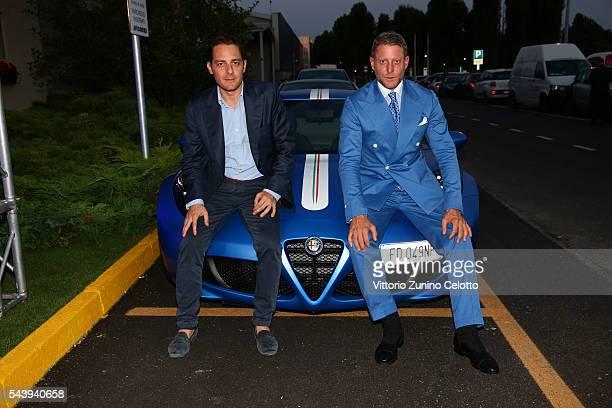 Italia Independent Ideas CEO Alberto Fusignani and Lapo Elkann attend the Learjet 31 'Nel Blu Dipinto Di Blu' Unveling At Linate SEA Prime on June 27...