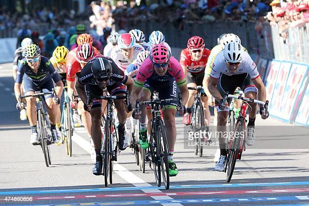 Italia rider Sacha Modolo crosses the finish line to win the 17th stage of the 98th Giro d'Italia Tour of Italy cycling race between Tirano and...