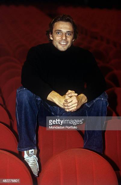 Italian actor Alessandro Preziosi sitting in the stalls at the theatre where the theatrical play Hamlet in which he plays Laertes will be staged...
