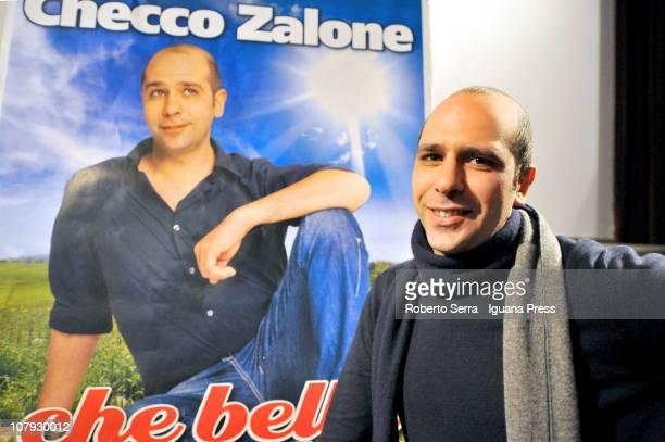 Italian actor and author Checco Zalone unveils his latest film 'Che Bella Giornata' at Fossolo Movie Theater on January 7 2011 in Bologna Italy