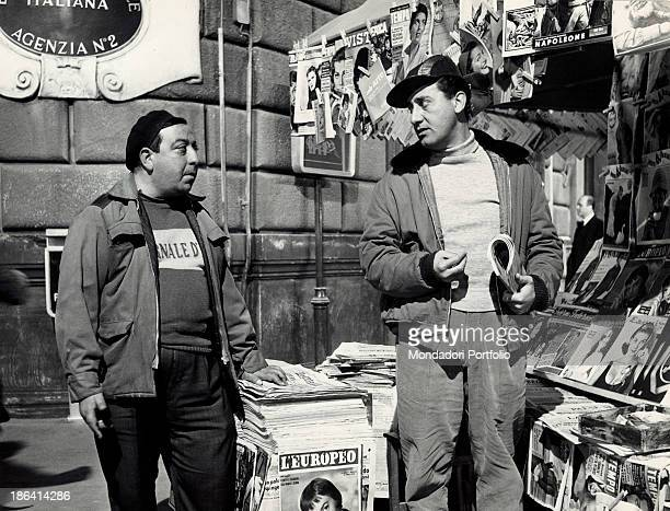 Italian actor and director Alberto Sordi playing the role of Alberto Boccetti a newsagent in the film Count Max Rome 1957