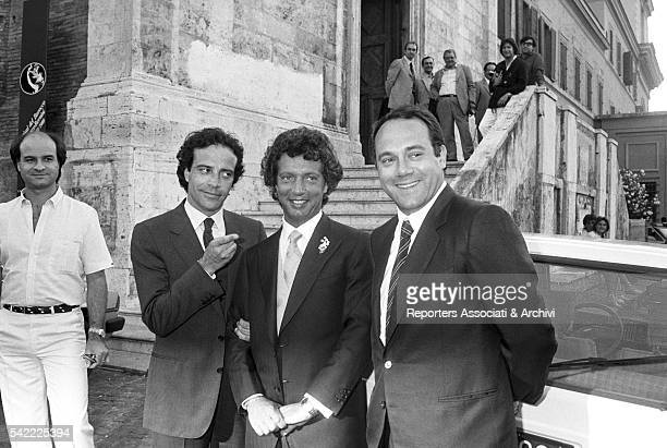 Italian actor and director Carlo Verdone and Italian actor Enrico Montesano at the wedding of Rita Rusic with Italian producer Vittorio Cecchi Gori...