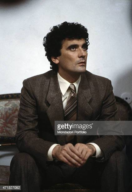 Italian actor and director Massimo Troisi acting in the film Scusate il ritardo 1983