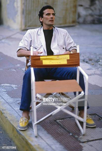 Italian actor and director Massimo Troisi having a break on the set of the film Hotel Colonial 1986