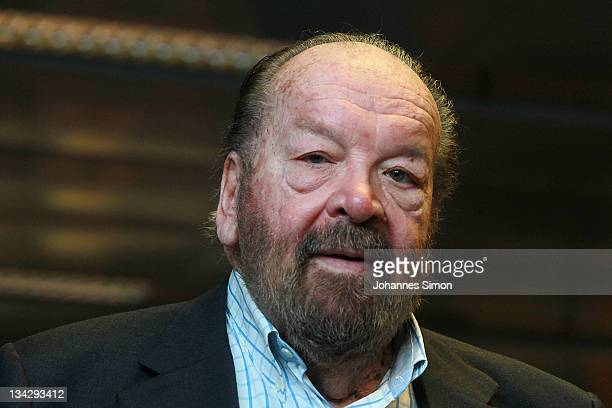 Italian actor Bud Spencer leaves Hugendubel bookstore after signing his autobiography on November 30 2011 in Munich Germany