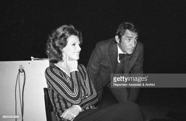 Italian actor comedian and TV host Walter Chiari in the backstage of the TV show 'Canzonissima' waiting for entering the scene with the singer...