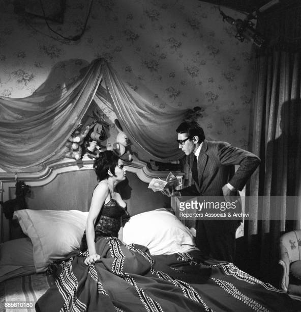 Italian actor comedian and TV host Walter Chiari with British actress Barbara Steele in the film 'Beautiful Eyes' Italy 1964
