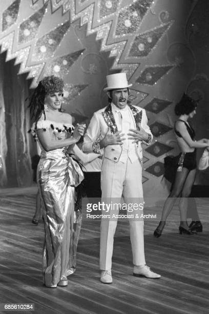 Italian actor comedian and TV host Walter Chiari with Italian singer Ornella Vanoni in the TV show 'L'Appuntamento' Rome 1973