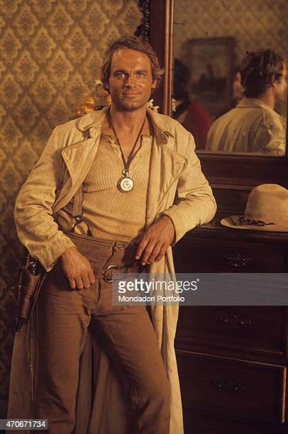 'Italian actor director scriptwriter and TV producer Terence Hill smiling dressed as a cowboy on the set of the film A Genius Two Partners and a Dupe...