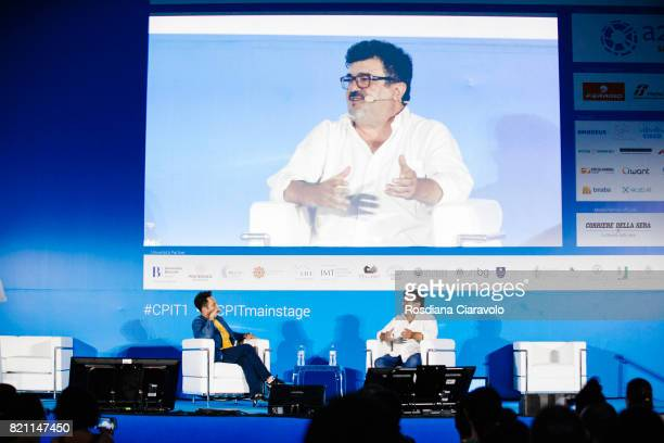 Italian actor dubber and director of dubbing Francesco Pannofino and Chief Marketing Officer at LocalEyes Mauro Aprile Zanetti attend Campus Party on...