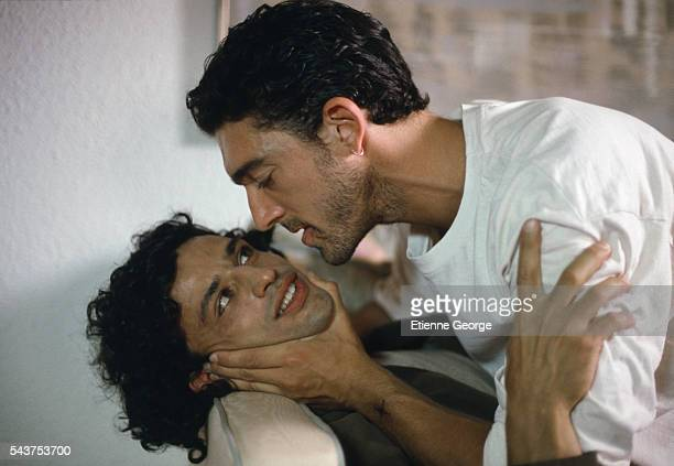 Italian actor Enrico Lo Verso and French actor Vincent Cassel on the set of the film 'Méditerranées' directed by French director Philippe Bérenger