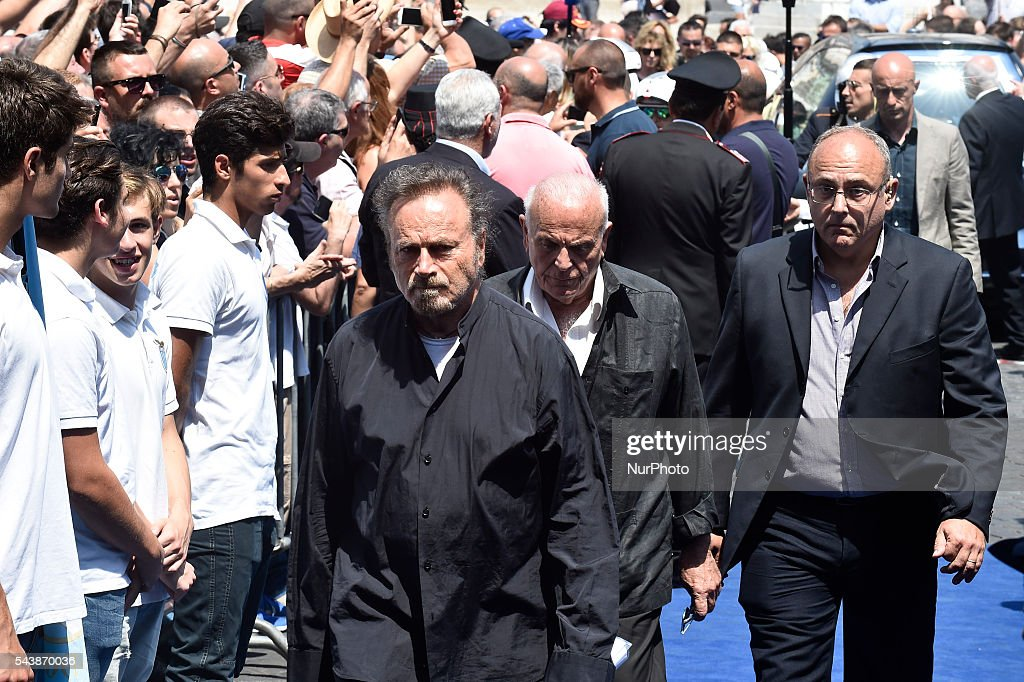"Italian actor <a gi-track='captionPersonalityLinkClicked' href=/galleries/search?phrase=Franco+Nero&family=editorial&specificpeople=803339 ng-click='$event.stopPropagation()'>Franco Nero</a> attends the funeral of Italian actor Bud Spencer, born Carlo Pedersoli, at the ""church of the artists"", Santa Maria in Montesanto, on June 30, 2016 at Piazza del Popolo in Rome"