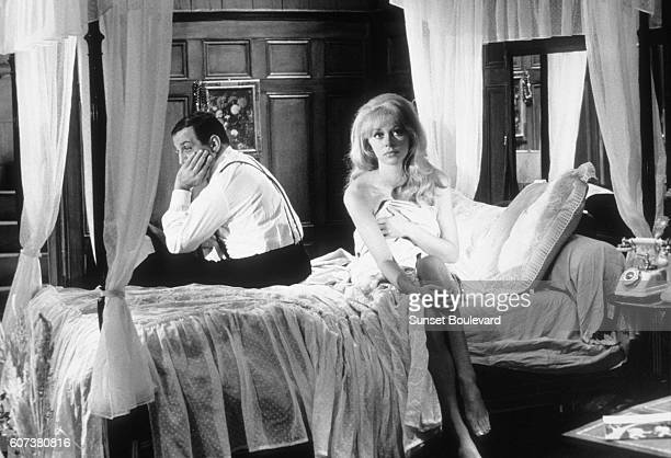 Italian actor Lino Ventura and French actress Mireille Darc on the set of Les Barbouzes directed by Georges Lautner